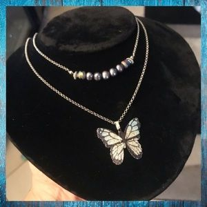 Double layer blue fresh water & butterfly necklace